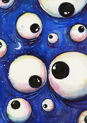 Children Decor Mixed Media - Blue Monster Eyes by Olga Shvartsur