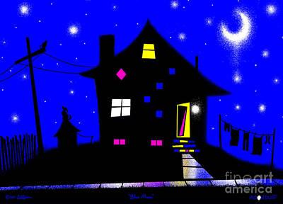 Dog Abstract Art Digital Art - Blue Moon by Cristophers Dream Artistry