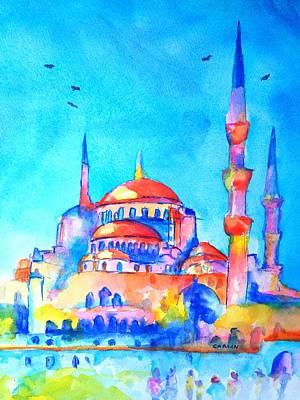 Eastern Europe Painting - Blue Mosque In Orange by Carlin Blahnik