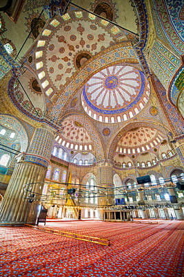 Blue Mosque Interior Print by Artur Bogacki