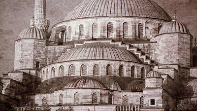 Blue Mosque - Vintage Print Print by Stephen Stookey