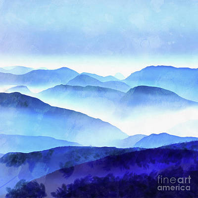 Throw Digital Art - Blue Mountains Square by Edward Fielding