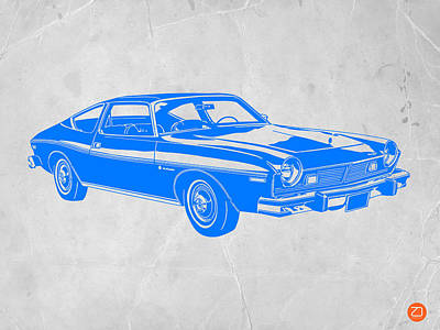 Old Paper Digital Art - Blue Muscle Car by Naxart Studio