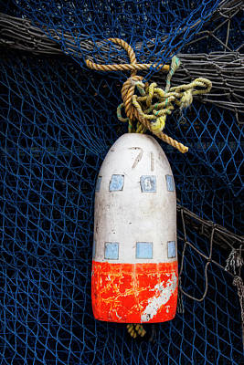 Fishnet Photograph - Blue Net And Orange And White Buoy by Carol Leigh