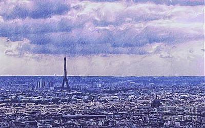 Paris Painting - Blue Paris by GabeZ Art