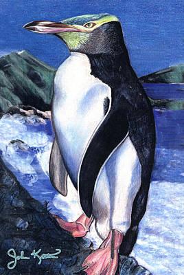Penquins Drawing - Blue Penguin by John Keaton