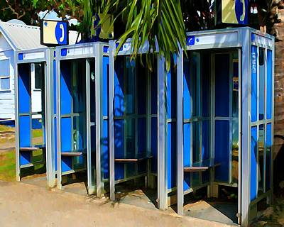 Old Phone Booth Photograph - Blue Phone Booths by Perry Webster