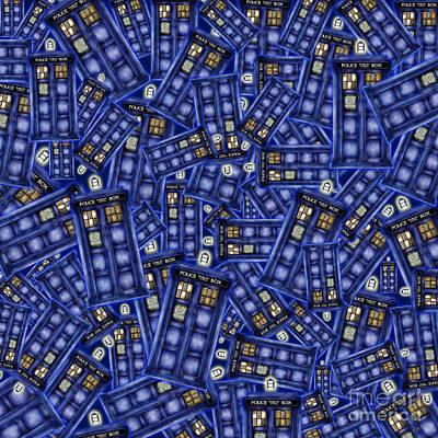 Fandom Drawing - Blue Phone Box Pattern by Lugu Poerawidjaja