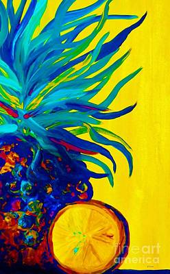Abstract Painting - Blue Pineapple Abstract by Eloise Schneider