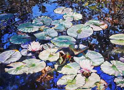 Waterscape Painting - Blue Pond by Kathleen Ballard