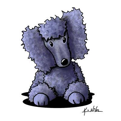 Blue Poodle Print by Kim Niles
