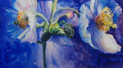 Bannister Painting - Blue Poppies by Debra  Bannister