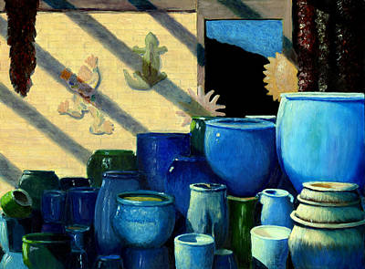 Gecko Painting - Blue Pots by Karyn Robinson
