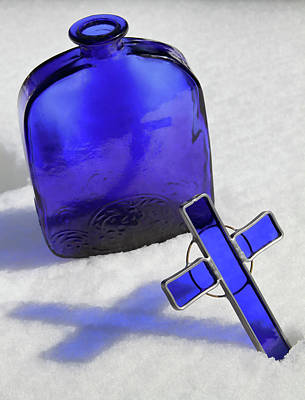 Reflections On Bottle Photograph - Blue Reflections On Snow by Tony Grider