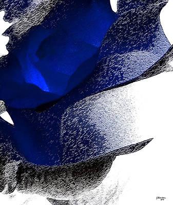 Modern Abstract Drawing - Blue Rose by Amanda Schambon