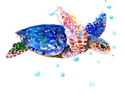 Sea Turtles Drawing - Blue Sea Turtle by Suren Nersisyan