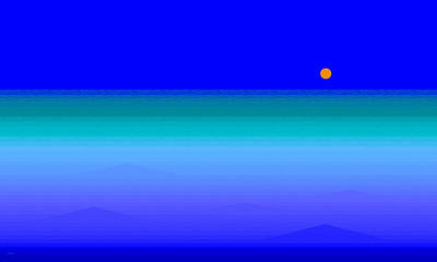 Abstract Seascape Digital Art - Blue Sea by Val Arie