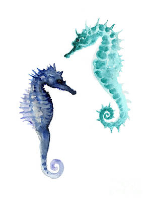 Coastal Painting - Blue Seahorses Watercolor Painting by Joanna Szmerdt