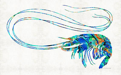 Blue Shrimp Art By Sharon Cummings Print by Sharon Cummings
