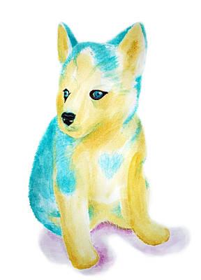 Siberian Husky Drawing - Blue Siberian Husky by Ariel Sierra