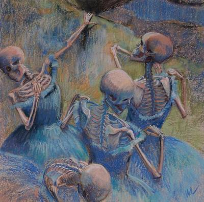 Behind The Scenes Painting - Blue Skelly Dancers by Marie  Marfia