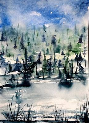 Wet Into Wet Watercolor Painting - Blue Skies Above by Eunice Miller