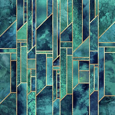 Geometric Digital Art - Blue Skies by Elisabeth Fredriksson