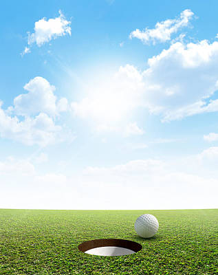 Blue Sky And Putting Green Print by Allan Swart