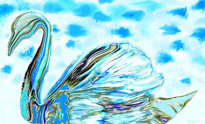 Bird Painting - Blue Sky Swan Dreams by Abstract Angel Artist Stephen K