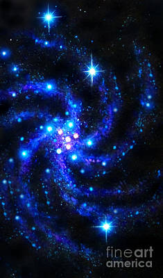 Outer Space Mixed Media - Blue Spira Galaxy. Space Art by Sofia Goldberg
