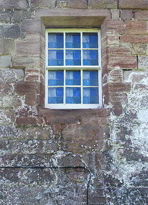 Blue Squares In The Castle Window Print by Christi Kraft
