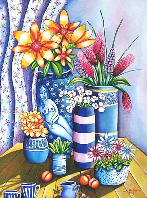 Ceramic Mixed Media - Blue Still Life by Jennifer England