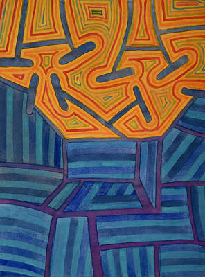 Grid Painting - Blue Striped Segments Combined With Orange Area  by Heidi Capitaine