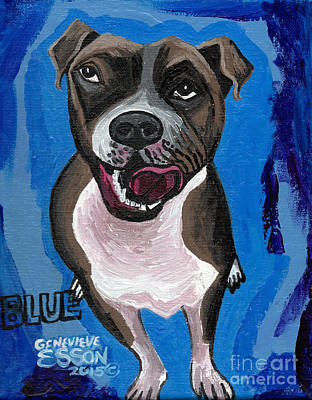 Animal Shelter Painting - Blue The Pit Bull Terrier by Genevieve Esson