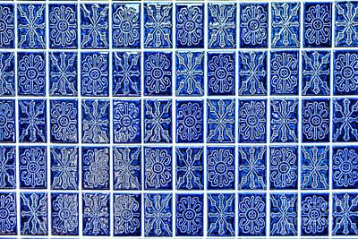 Ceramic Tile Photograph - Blue Tile Wall by Olivier Le Queinec