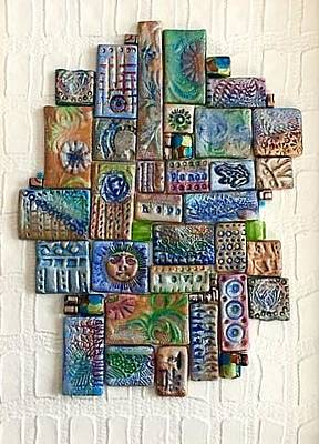 Composite Painting - Blue Tiles by Ernestine Grindal
