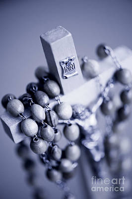 Inri Photograph - Blue Toned Rosary Made Of Wooden by Arletta Cwalina