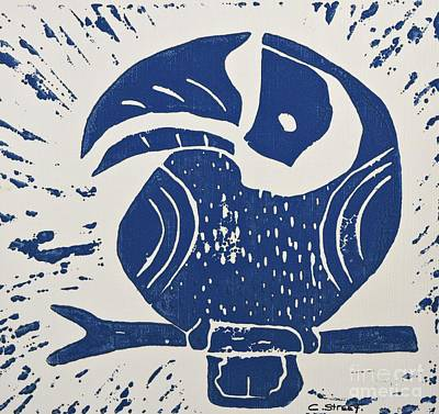 Lino Painting - Blue Toucan by Caroline Street