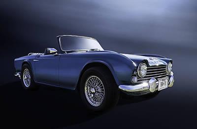 Motorsports Digital Art - Blue Tr4 by Douglas Pittman