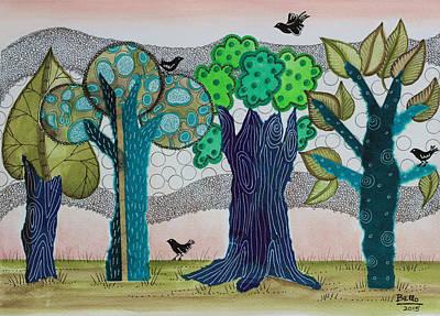 Blue Trees Print by Graciela Bello