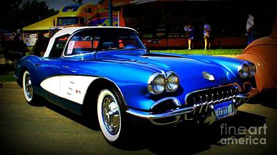 Blue Vette Dreams Print by Perry Webster