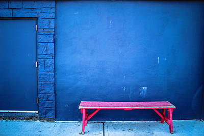 Blue Wall Pink Bench Print by Colleen Kammerer