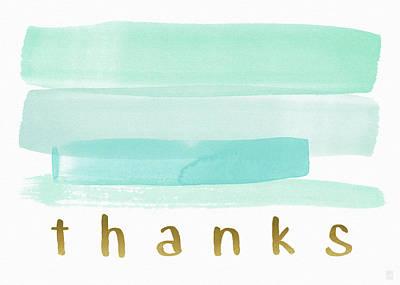 Blue Watercolor Stripe Thank You- Art By Linda Woods Print by Linda Woods