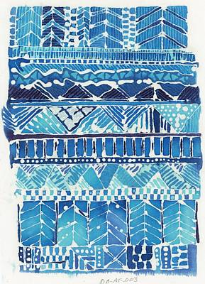 Blue Watercolor Style Geometric Pattern Print by Gillham Studios