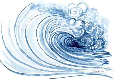 Blue Wave Modern Loose Curling Wave Print by Audrey Jeanne Roberts