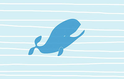 Funny Pet Painting - Blue Whale by Frank Tschakert