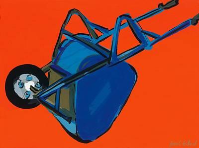 Colored Background Painting - Blue Wheelbarrow by Sarah Gillard