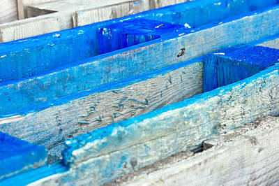 Blue Wooden Crates Print by Tom Gowanlock