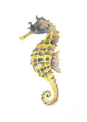 Seahorse Painting - Blue Yellow Seahorse - Vertical by Amy Kirkpatrick