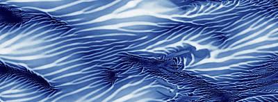 Blue And White Serenity Sea Monoprint Panoramic Print by Amy Vangsgard